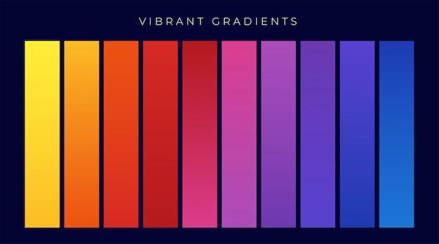 Vibrante colorato insieme di gradienti