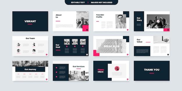 Vibrante modello di progettazione di diapositive powerpoint