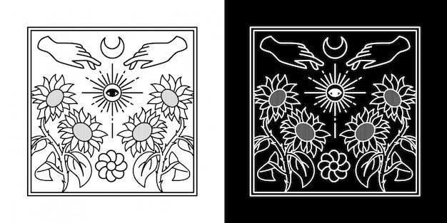 Vibrazioni estive con disegno a mano monoline