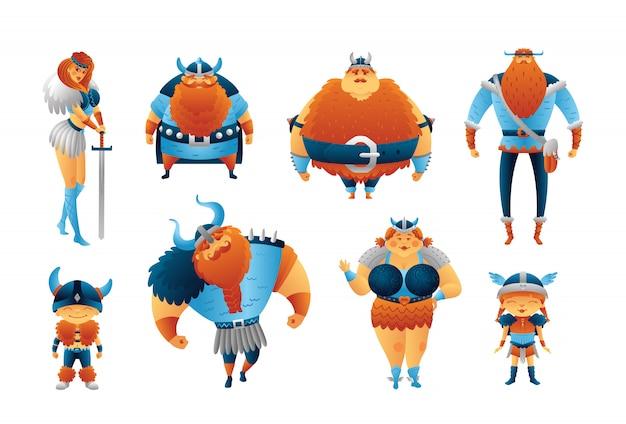 Vichinghi set di personaggi dei cartoni animati. uomini, donne, bambini scandinavi. raccolta illustrazione carino isolato.