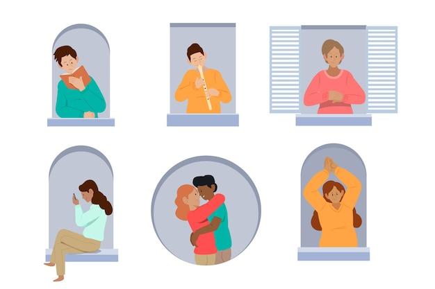 Vicini sull'illustrazione dei balconi