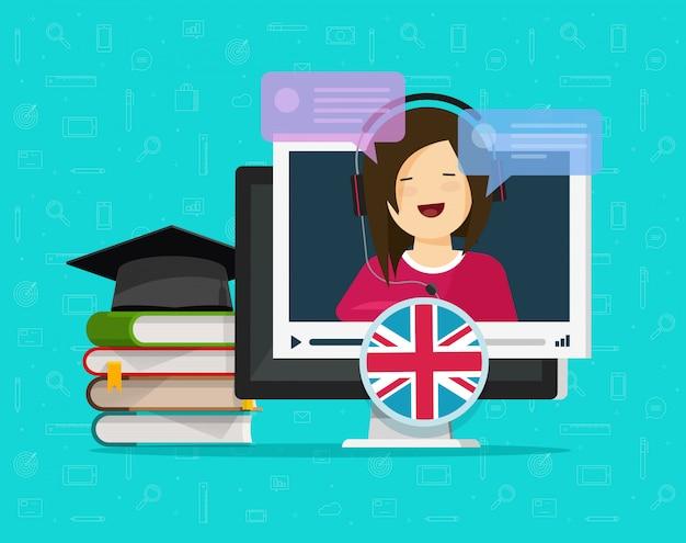 Video apprendimento a distanza online di lingua inglese sul desktop computer o sul concetto di istruzione sul pc con l'illustrazione piana del fumetto di stile di chiacchierata parlante dell'insegnante