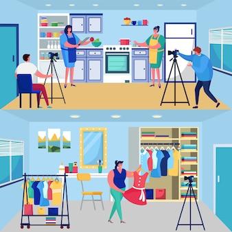 Video blogger, personaggio dei cartoni animati della donna in grembiule che cucina cibo, persone che trasmettono contenuti nel blog, social vlog show
