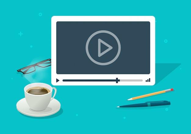 Video che guarda sul fumetto piano dell'illustrazione della tavola dello scrittorio funzionante isometrico astratto