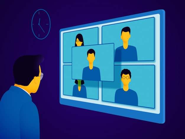 Video conferenza. un uomo in giacca e cravatta comunica con le persone durante una riunione online.