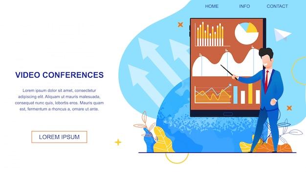 Video conferenze illustrazione banner.