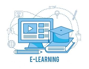 Video del sito Web del computer con il libro da studiare