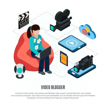 Video foto isometrico con testo modificabile e composizione del diagramma di flusso con video blogger e illustrazione vettoriale ingranaggi di tiro