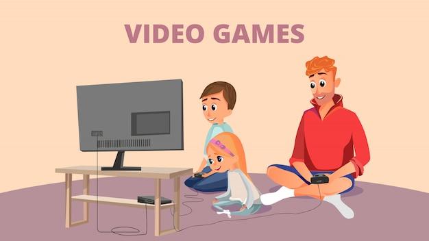 Video game banner cartone animato padre figlio figlia giocare