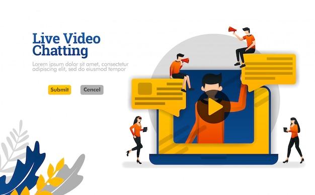 Video in diretta che chiacchiera con i computer portatili, conversazioni per il vlogger industriale, illustrazione di vettore di media sociali
