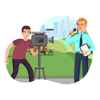 Video intervista su city background watch camcorder