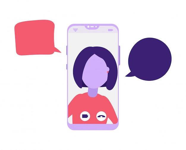 Video online in chat su smartphone con ragazza
