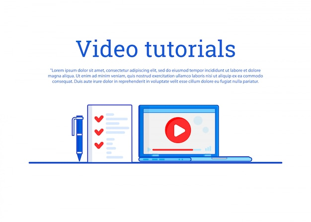 Video tutorial. concept education, formazione online, studio di internet