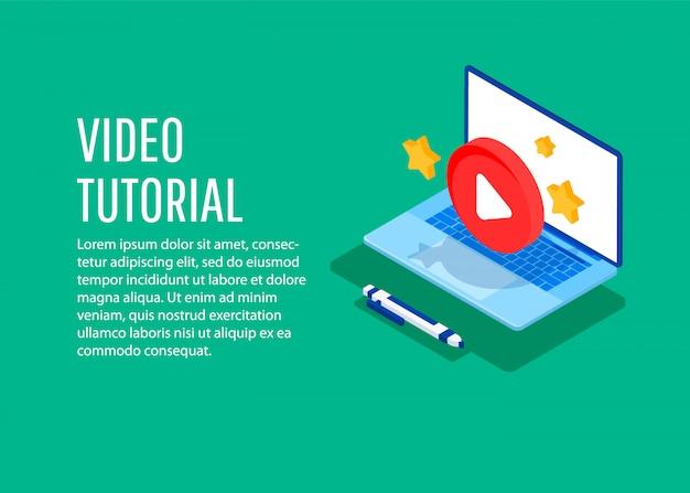 Video tutorial. illustrazione concettuale per il web e graphic design, marketing.