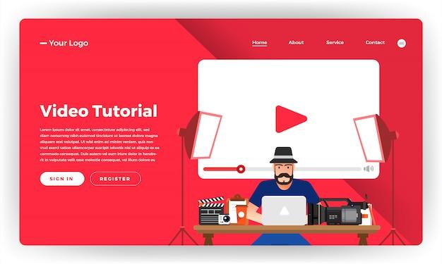 Video tutorial sul concetto di sito web. illustrazione.