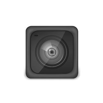 Videocamera compatta ad azione nera. foto, attrezzatura per riprese video per riprese di sport estremi. illustrazione vettoriale realistico isolato