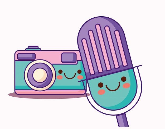 Videocamera e microfono kawaii