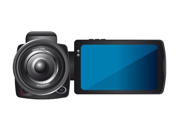 Videocamera isolato su sfondo bianco