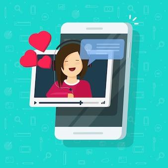 Videochiamata o chat con la persona dell'amica sul fumetto piano dell'illustrazione del telefono cellulare