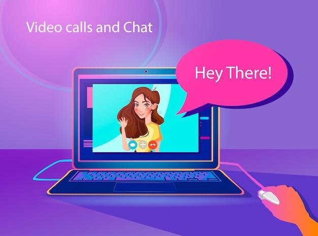 Videochiamate e illustrazione di concetto di chat.