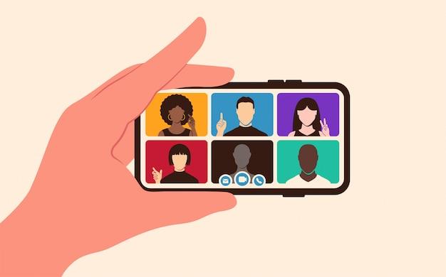 Videoconferenza internazionale per lavoro da casa su schermo mobile. riunione online di concetto in stile piatto
