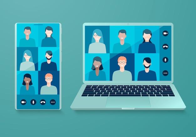 Videoconferenza online su smartphone e laptop.