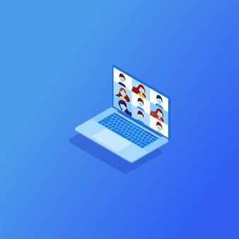 Videoconferenza per formazione su laptop isometrico con diversi colleghi videoconferenza a casa, incontro con i clienti