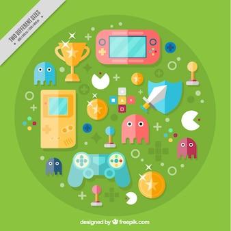 Videogame elementi di sfondo in design piatto