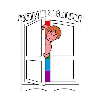 Viene fuori il simbolo del guardaroba lgbt. aprire la porta dell'armadio.