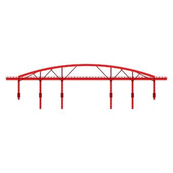 Viewd rosso del lato di architettura dell'illustrazione dell'icona del ponte.