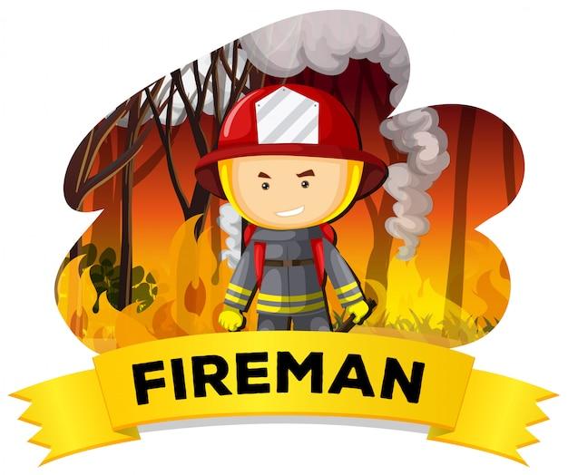 Vigile del fuoco con il fuoco sullo sfondo