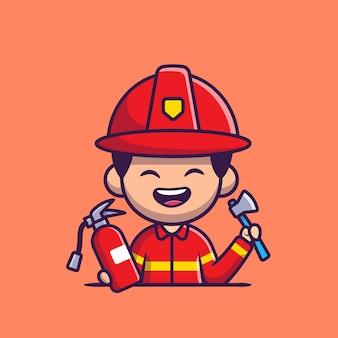 Vigile del fuoco con l'ascia harchet e l'estintore cartoon icona illustrazione. persone professione icona concetto isolato. stile cartone animato piatto