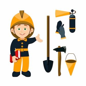 Vigile del fuoco del personaggio dei bambini del fumetto che tiene un libro e che indica all'attrezzatura antincendio