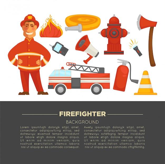 Vigile del fuoco e poster di protezione antincendio