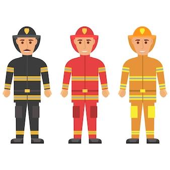 Vigile del fuoco in uniforme personaggio vigile del fuoco in casco sicuro e uniforme. i soccorritori professionisti del servizio di emergenza.