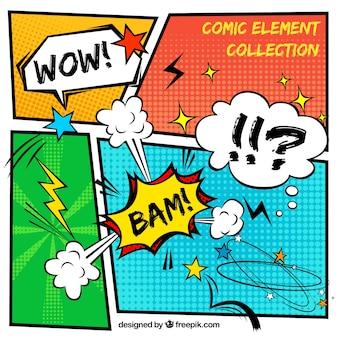 Vignette di fumetti con onomatopee
