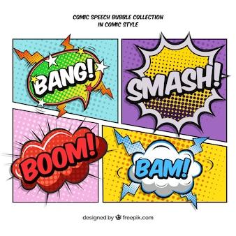 Vignette di fumetti set con onomatopee