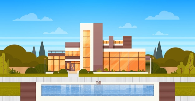 Villa di lusso con piscina esterna della casa moderna