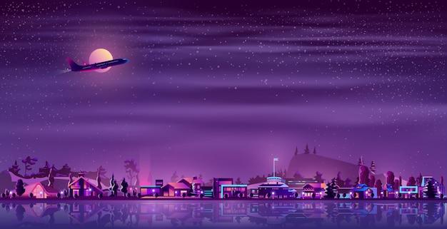Villaggio al neon del pescatore di vettore alla notte, campagna