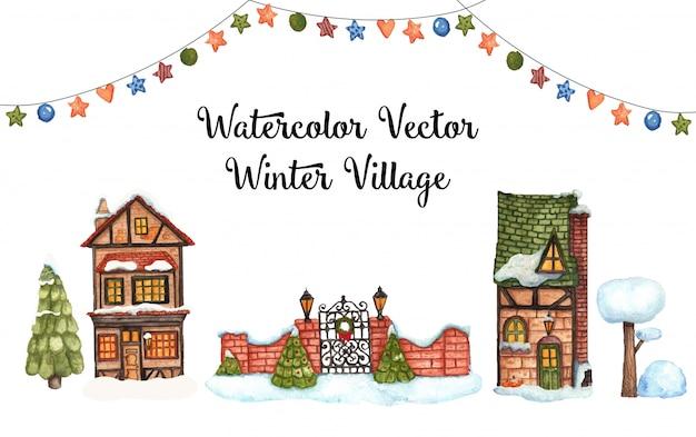 Villaggio invernale di vettore dell'acquerello