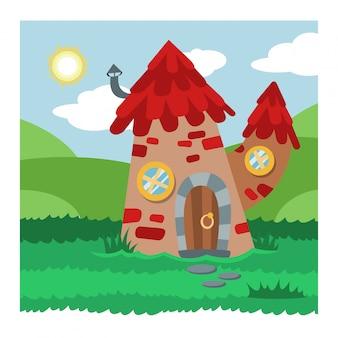 Villaggio magico dell'alloggio della casa sull'albero di fata del fumetto di vettore della casa di gnomo di fantasia