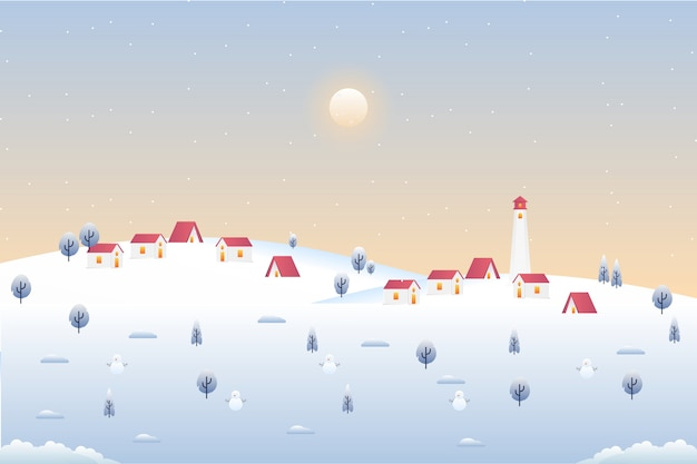 Villaggio paronama nel paesaggio stagione invernale