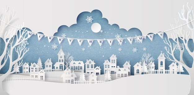 Villaggio urbano della città del paesaggio della campagna della neve di inverno con la luna piena