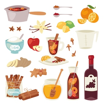 Vin brulè natale vinoso bevanda punch drink caldo vinoso alcol vin brulè cocktail con spezie anice e agrumi in vetro illustrazione su sfondo bianco