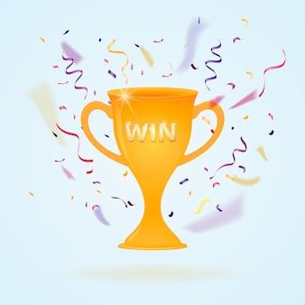 Vincere. coppa d'oro, simbolo di successo, esplosione di caramelle.