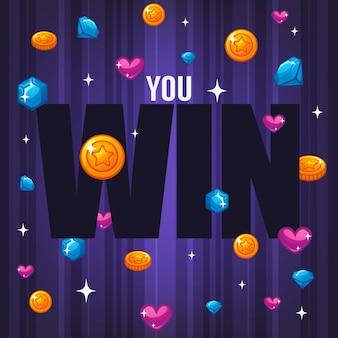 Vinci, congratulazioni banner luminoso e lucido con cuori, stelle, gemme, monete e composizione scritta su sfondo viola