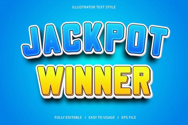 Vincitore del jackpot, effetto carattere stile testo blu giallo