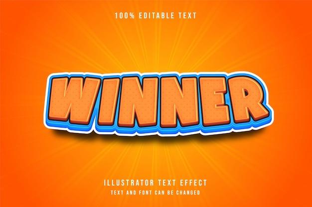Vincitore, effetto di testo modificabile 3d arancione blu stile di gioco comico