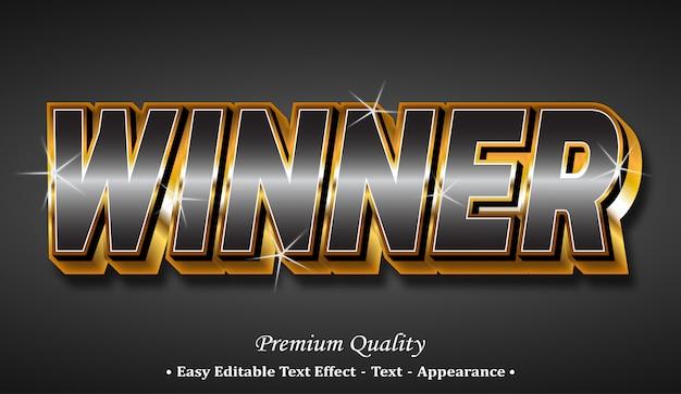 Vincitore effetto stile font 3d