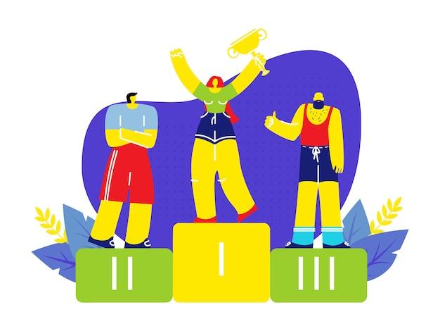 Vincitore femminile in piedi sul podio